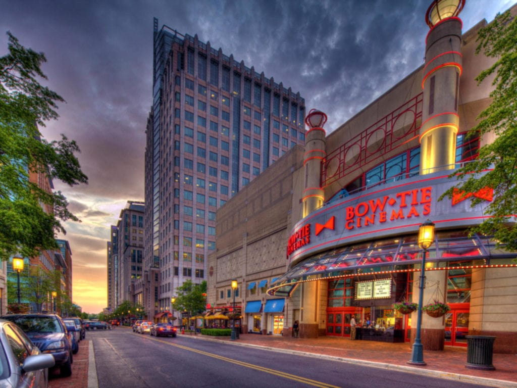 Reston town center at sunset