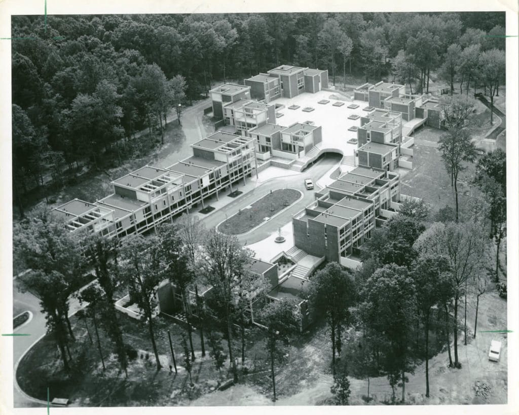 An old photo of construction of new townhomes at Lake Anne in Reston
