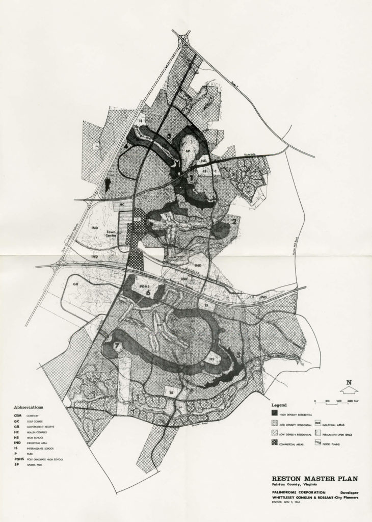 An old master plan is shown created by the founder of Reston VA