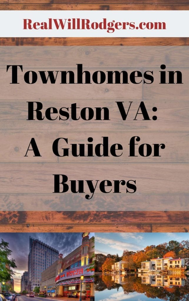Cover to a guide for townhomes in Reston VA, shows some images of Reston