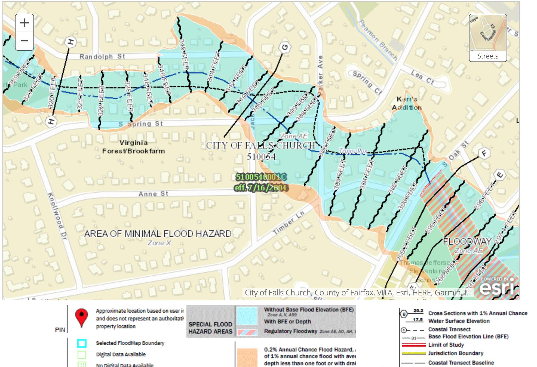 Flood plain map shows a flood plain going through Falls Church