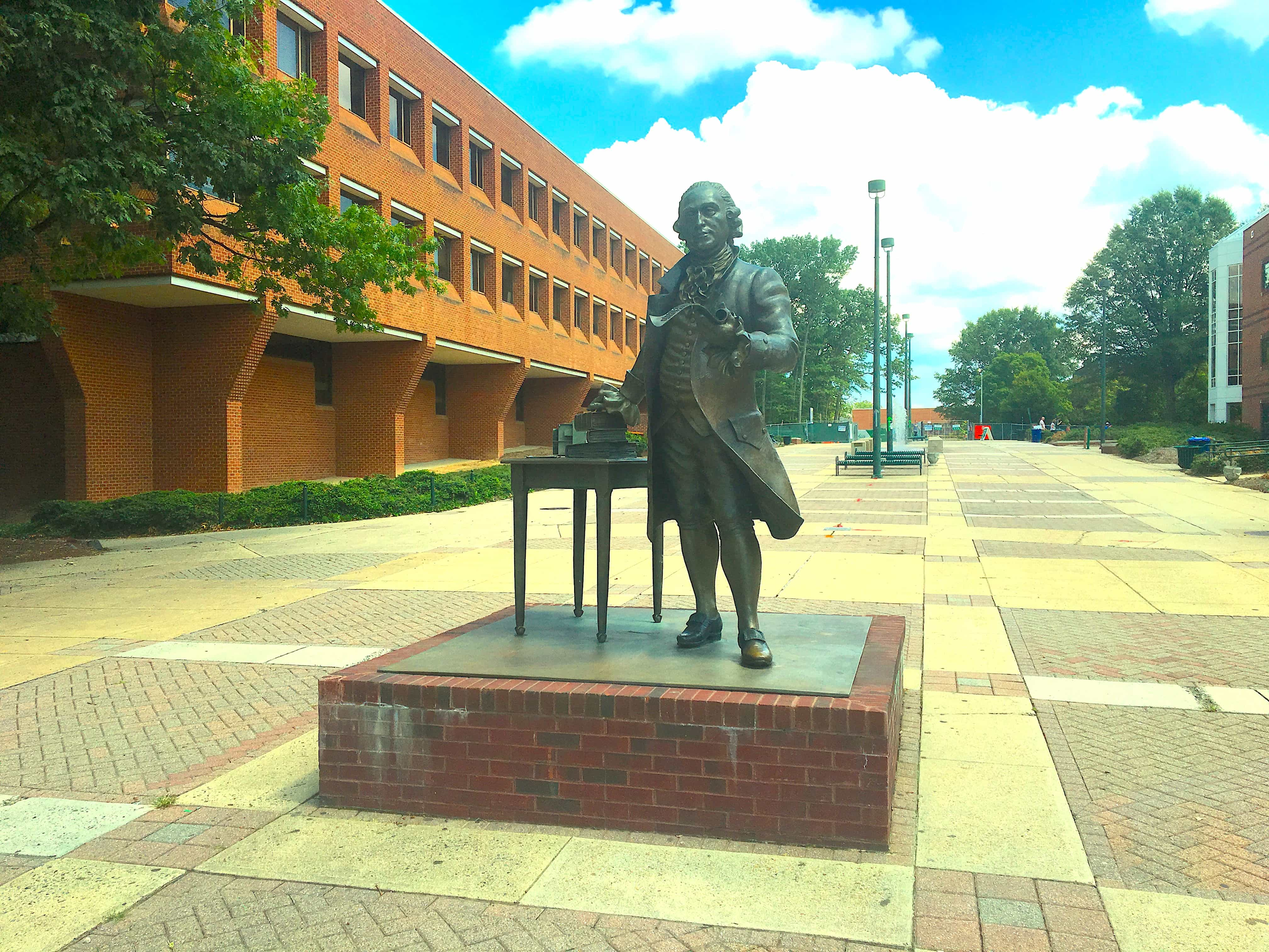 Image of George Mason statue at George Mason University