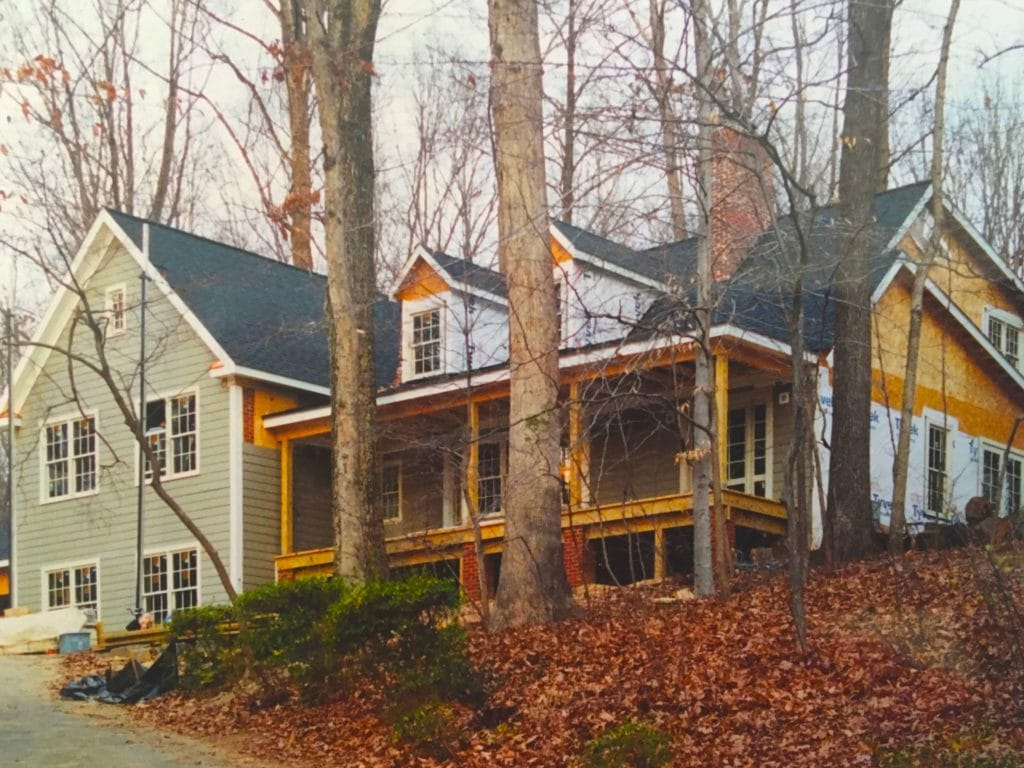Custom home being finished in Fairfax, VA. Hardiplank siding,