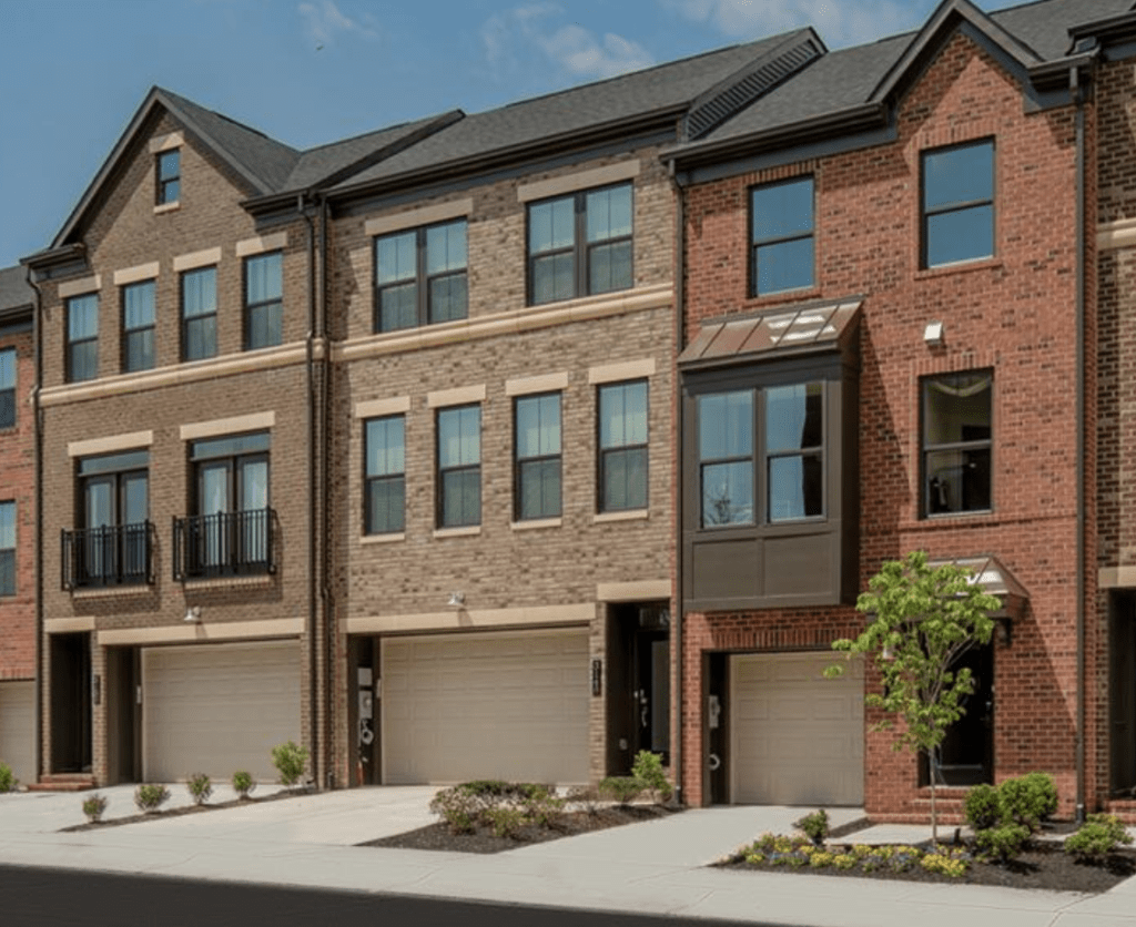 New townhomes in Fairfax VA. The community is known as Metro Row