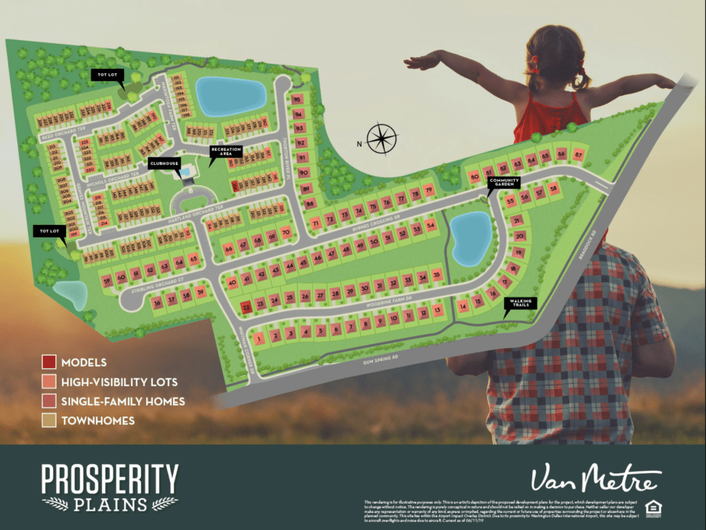 A rendering of Prosperity Plains original site plan by Van Metre. It shows both single family and townhomes as square and rectangles.