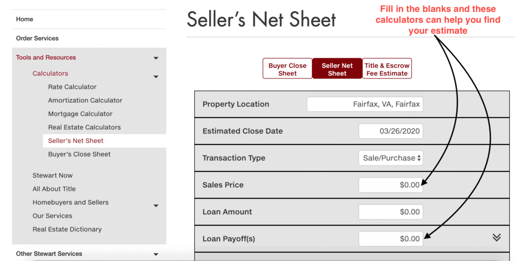 A screenshot of a title company's seller net sheet in Northern Virginia.
