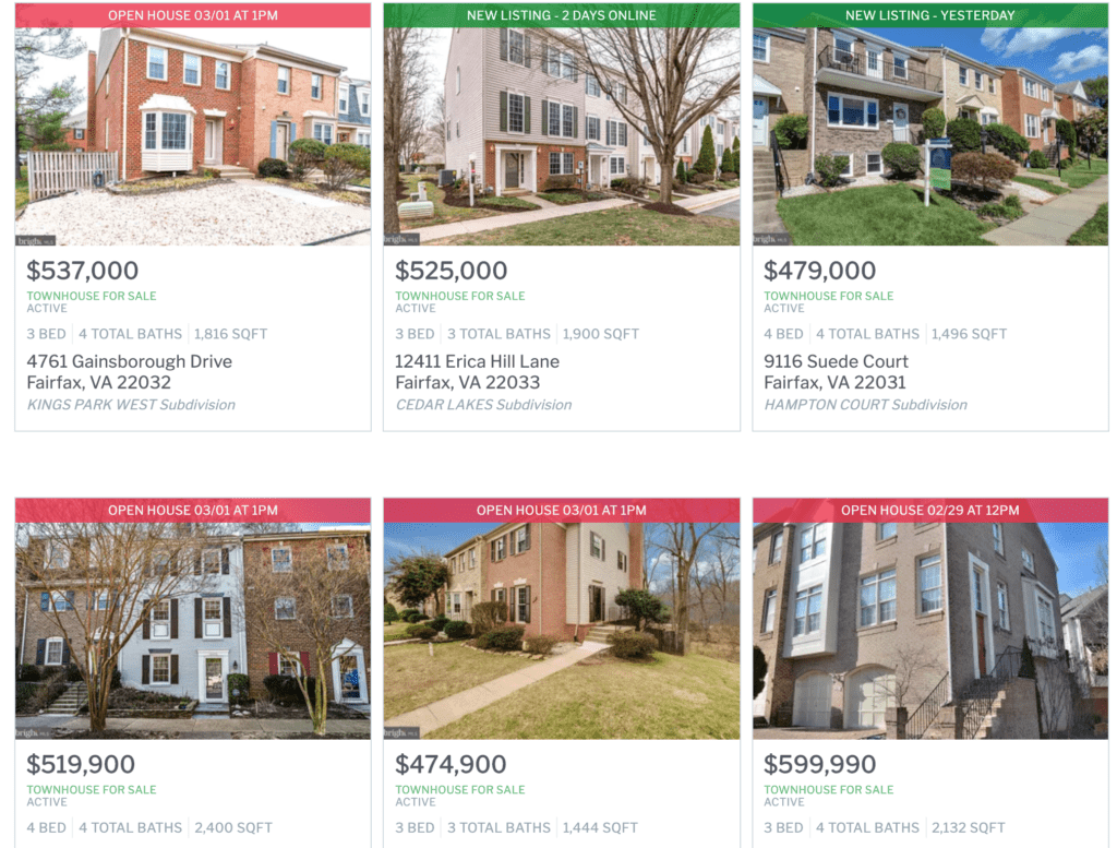 A list of townhomes, prices and addresses with images of the front of the townhomes. These are in Fairfax County. This image shows an example of homes that are competing for buyers.