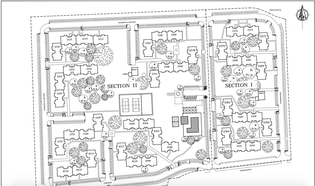 An overhead sitemap of Woodburn Village. You can see where trees were planted, how many buildings there are and amenities all in blueprint form.