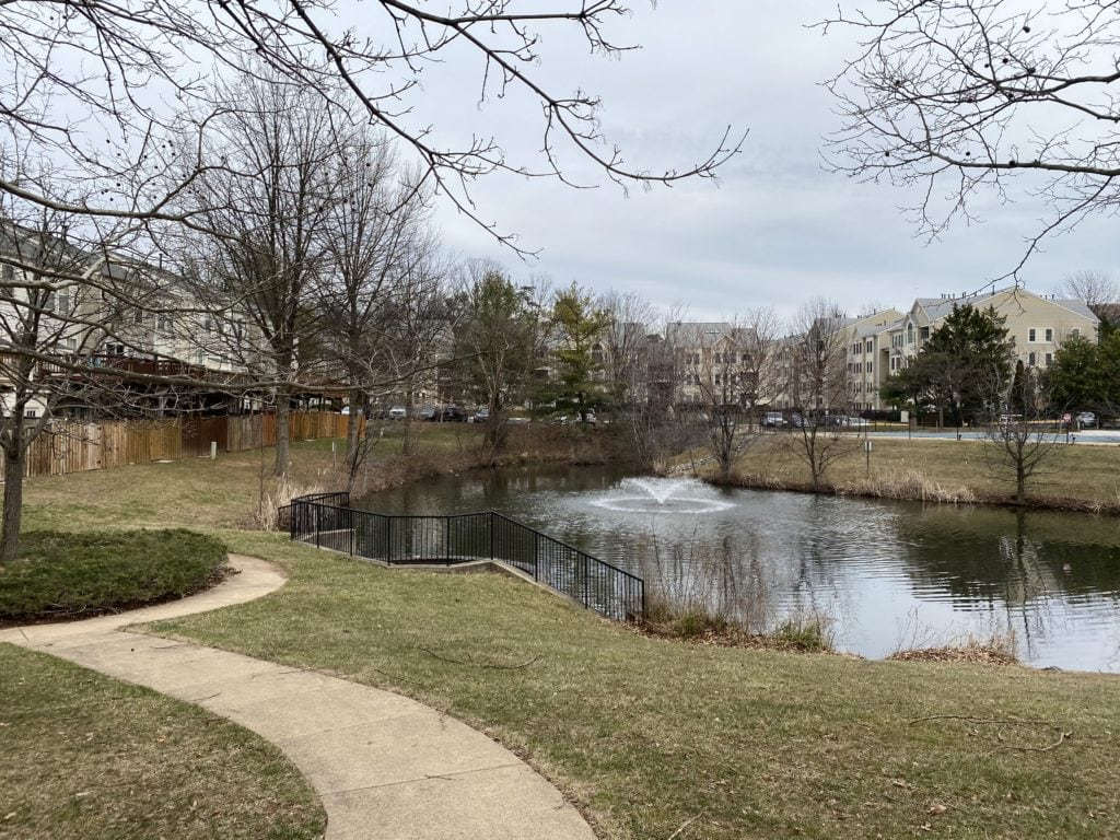 A man made pond is shown on a winter day. A fountain in the center, with townhomes and condos surrounding. A walking trail goes around the pond.