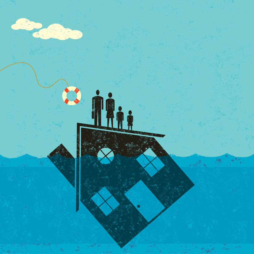 A vector artwork of a family on top of a house that is partially underwater, with a life preserver being thrown to them.