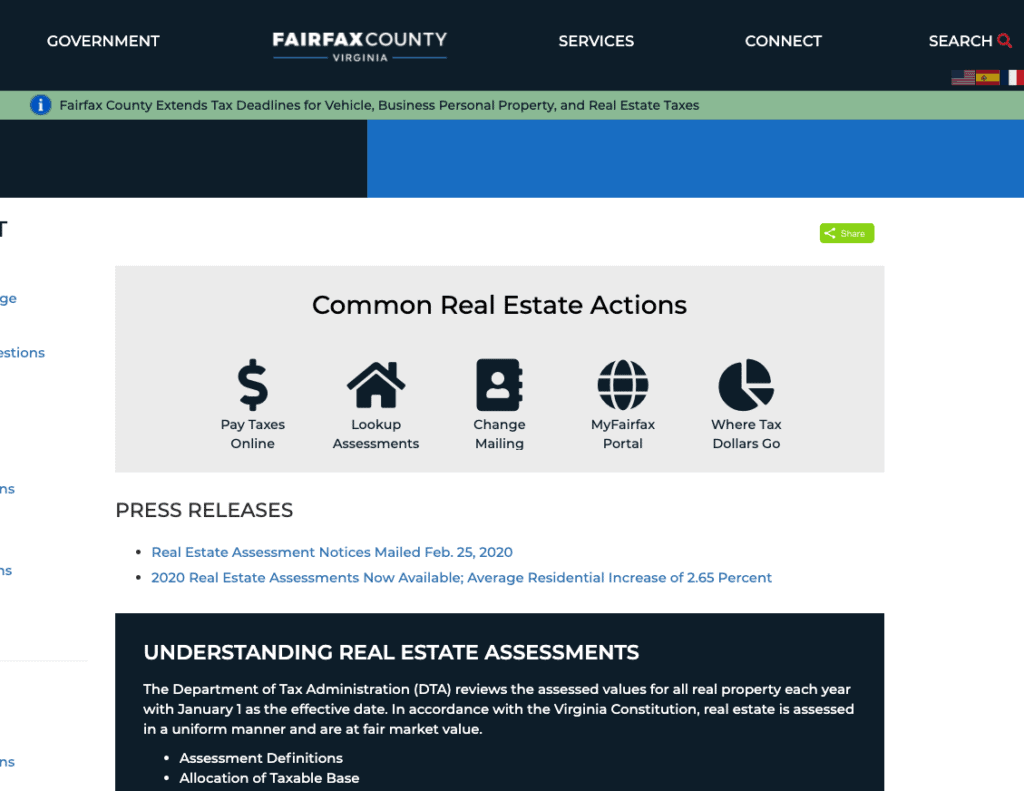 Image of screenshot from a website that has option to lookup the real estate assessment amount of a property.