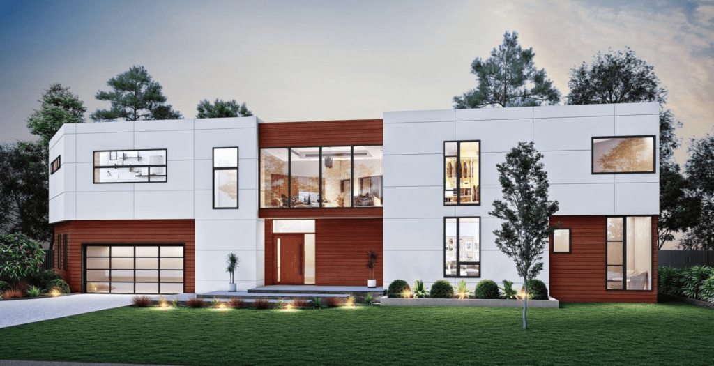 A rendering of a modern home with clean straight line architecture. The home is white and brown wood colored, with ample windows and a garage.