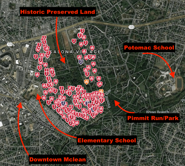A map shown of the area surrounding Salona Village, a residential neighborhood in McLean. Shows schools, downtown McLean, historic area and Pimmit Run Park.