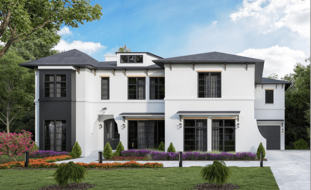 A rendering of a luxury modern mediterranean style home in McLean, VA. White stucco siding and large windows.
