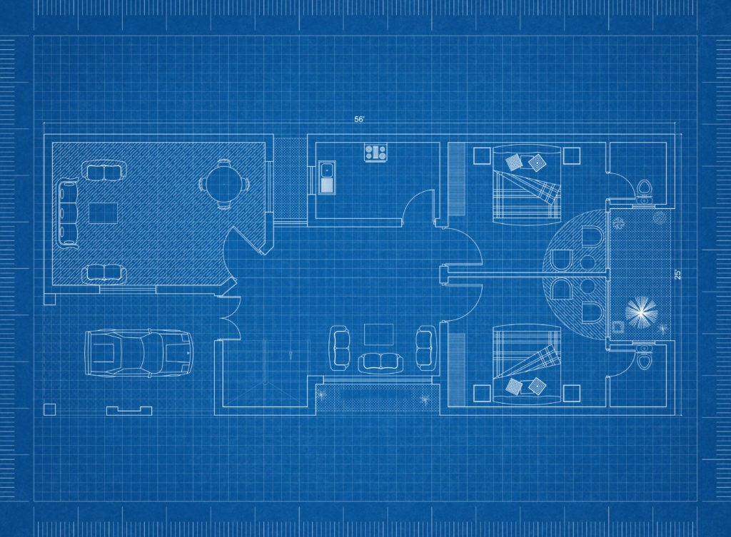 A floor plan for a new construction home on blue background created in a computer program.