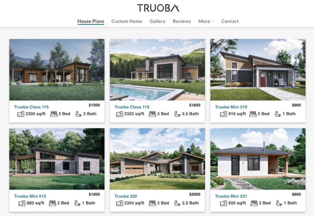 A selection of different floor plans being offered by an online company that designs homes.
