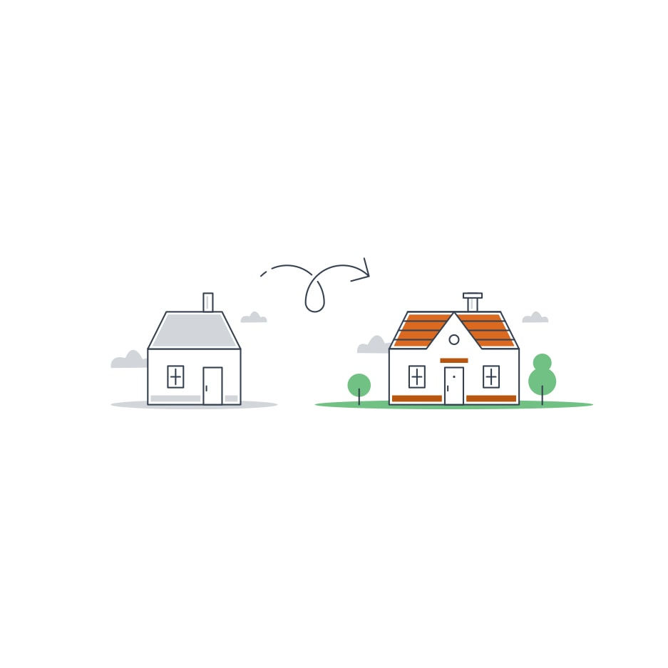 Drawing of a two homes, one small and one large.