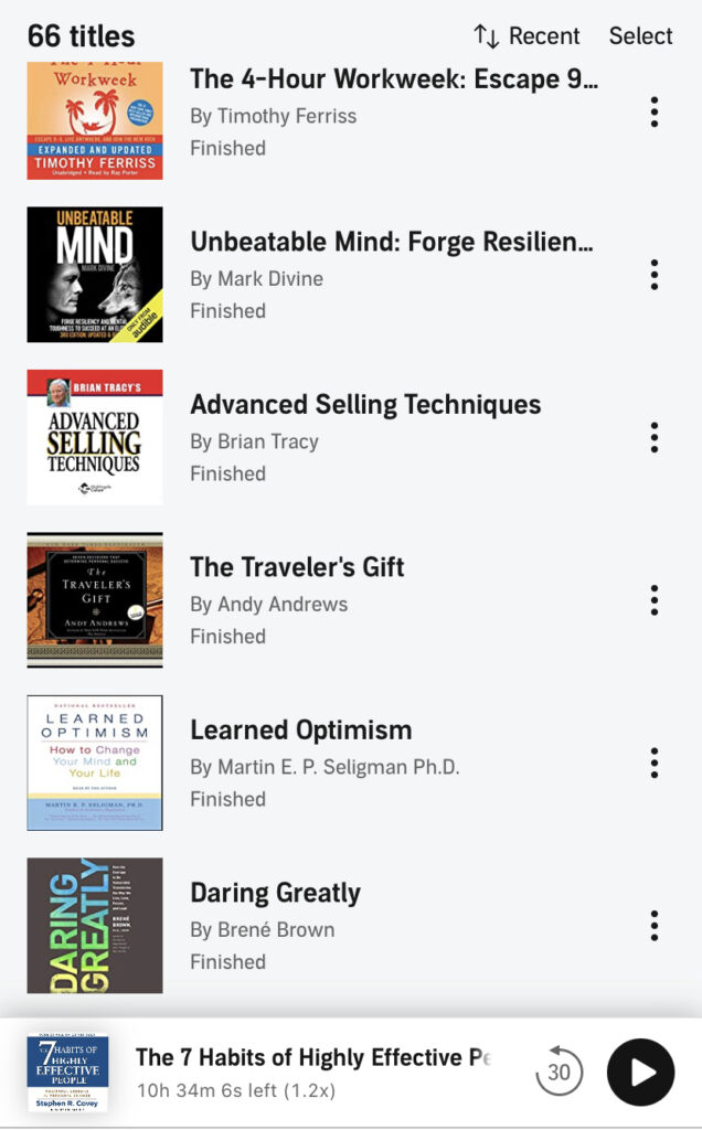 A list of audiobooks that I have listened to on my journey as a real estate agent.