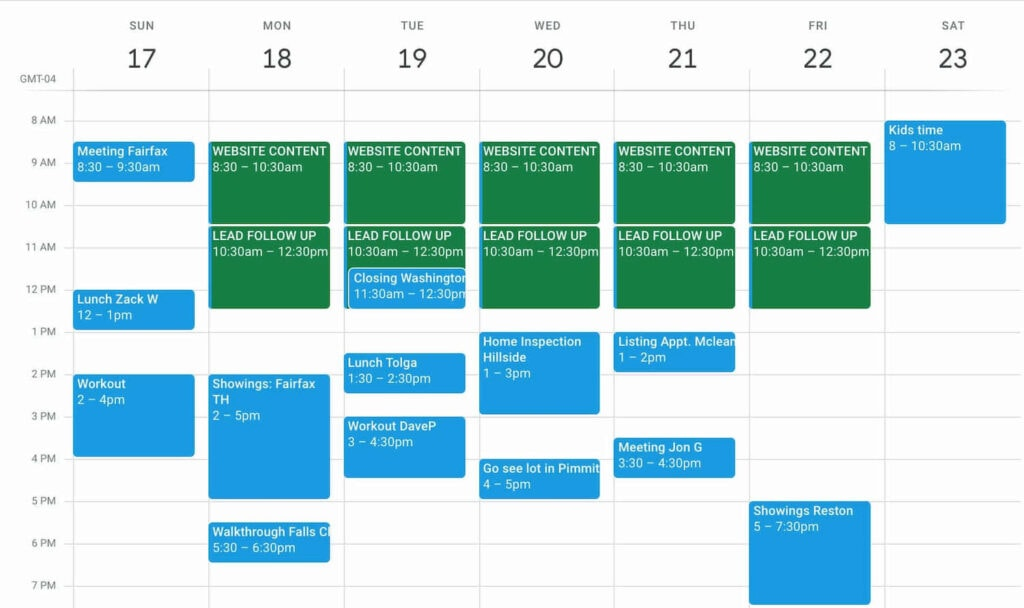A calendar of a real estate agent, different colors for everyday tasks and other appointments.