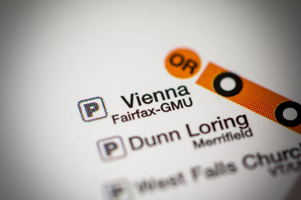 A close up of the orange line metro map showing the last station which is Vienna/Fairfax GMU.