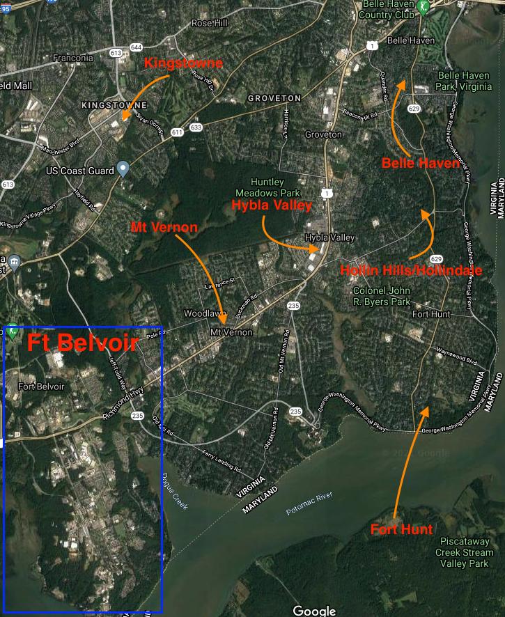 Map of some popular neighborhoods near Fort Belvoir.